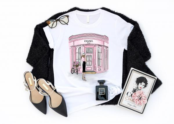 Dámske tričko CHANEL SHOP  FASHION ILLUSTRATION
